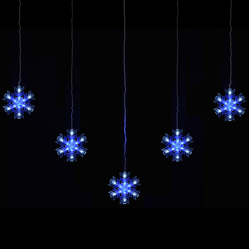 Mains Voltage 5 Piece Snowflake Curtain Christmas Festive Outdoor Blue Whit