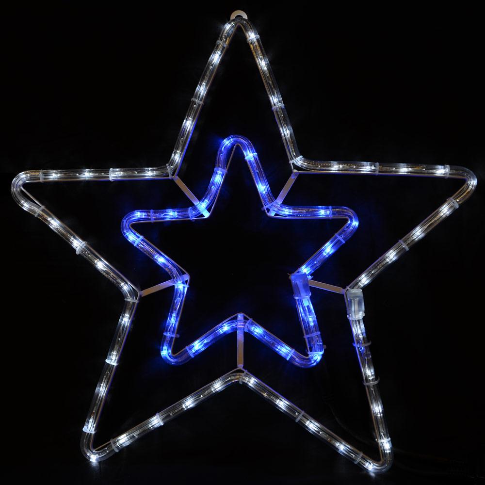 Festive blue white led rope light star christmas