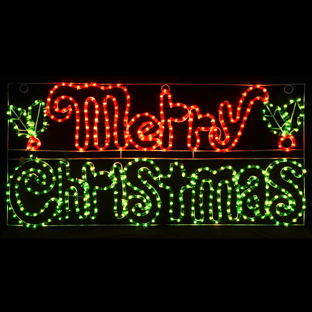 Red Green Merry Christmas Led Rope Light Xmas Decoration Sign Indoor Outdoor