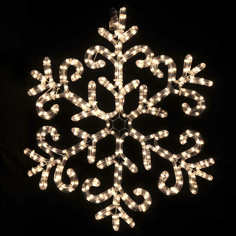 Festive christmas mains voltage clear rope light snowflake - Snowflake exterior christmas lights ...