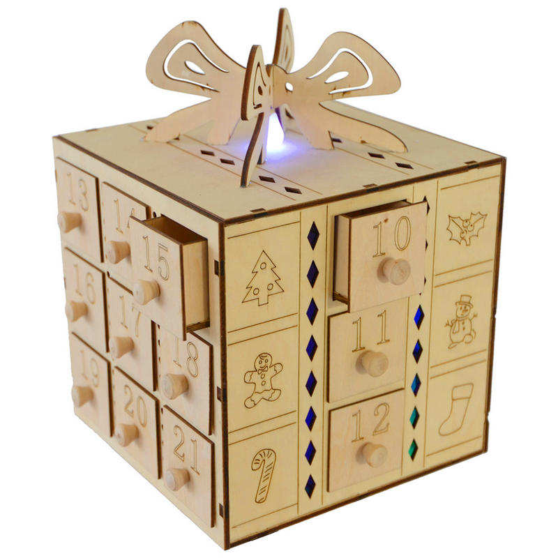Fesitive Multi Led Light Up Gift Box Design Wooden Advent