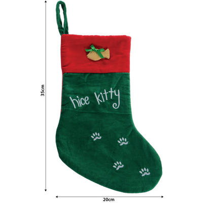 "Green & Red Embroidered ""Nice Kitty"" 35cm Pet Christmas Xmas Stocking"