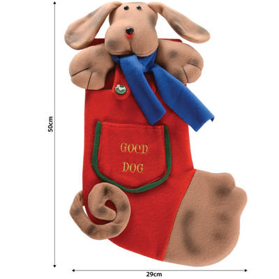 "Red Plush Dog Face With Embroidered ""Good Dog"" Pocket 45cm Pet Christmas Xmas Stocking"