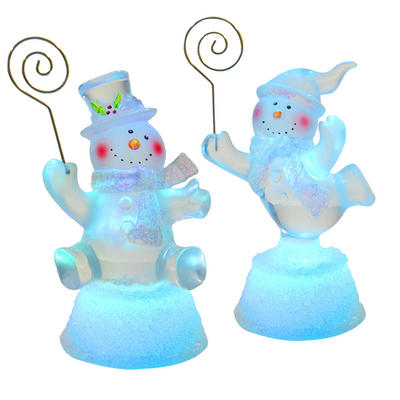 Battery Operated Cute Snowman Card Holder Christmas Decoration With Colour Changing LED Light