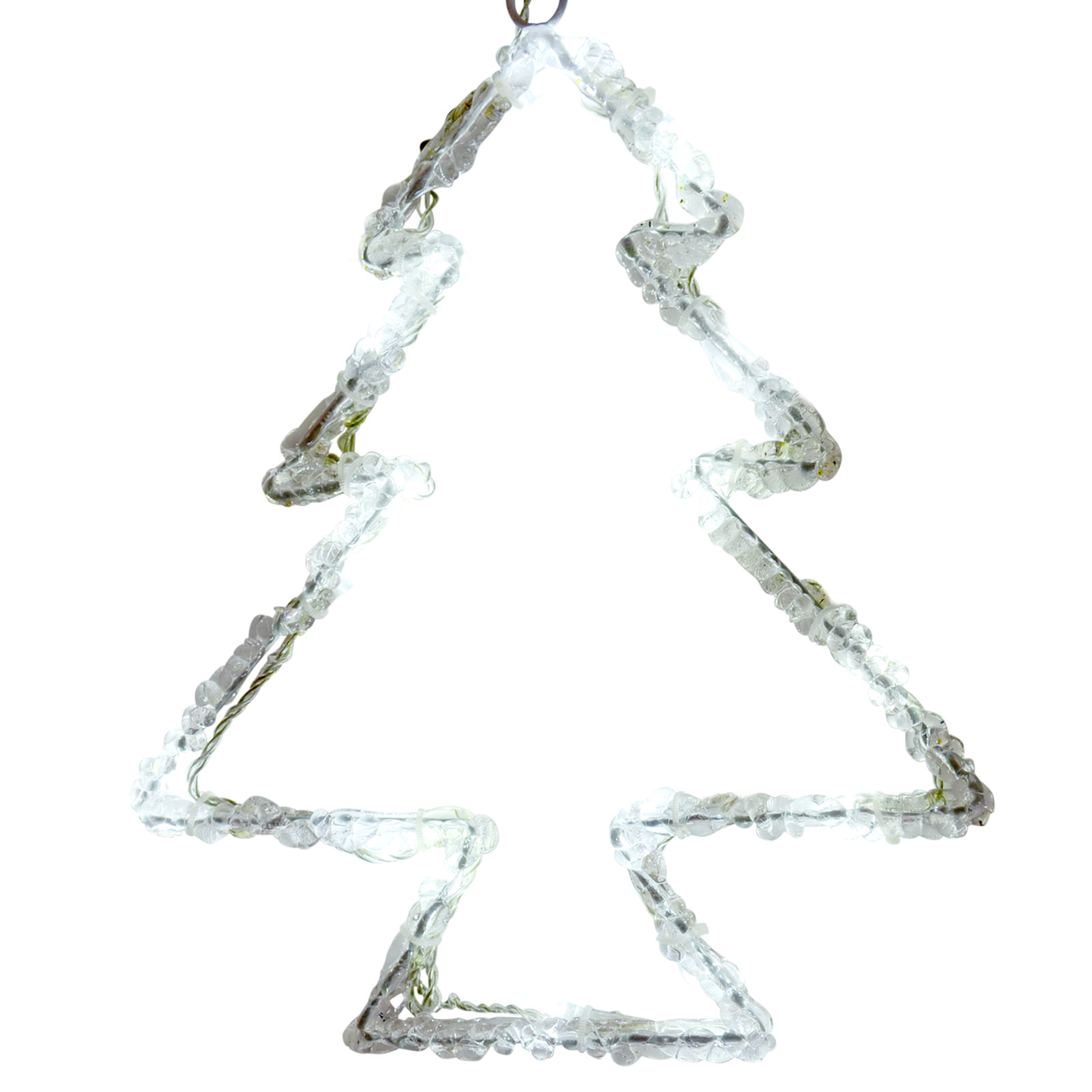 29cm Acrylic Christmas Tree Silhouette White LED Hanging Festive Xmas Decoration