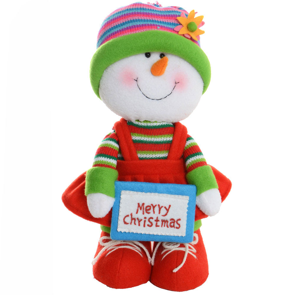 Cute 32cm Soft Body Standing Girl Snowman Festive Christmas Decoration