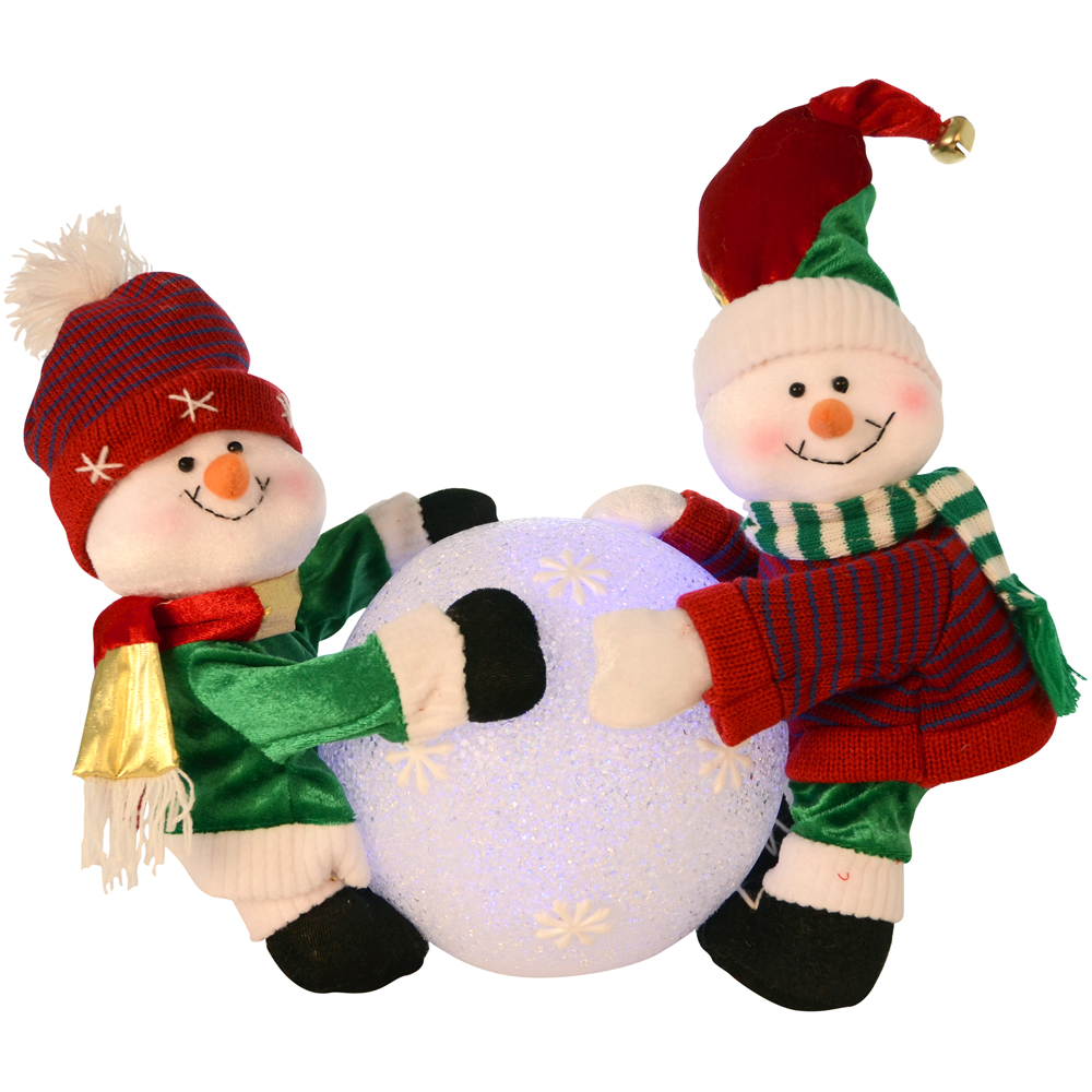 Cute Snowmen Rolling A Huge Colour Change Light Up Snowball Christmas Decoration