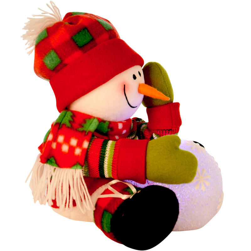 Battery Operated Cute Sitting Snowman With Colour Changing