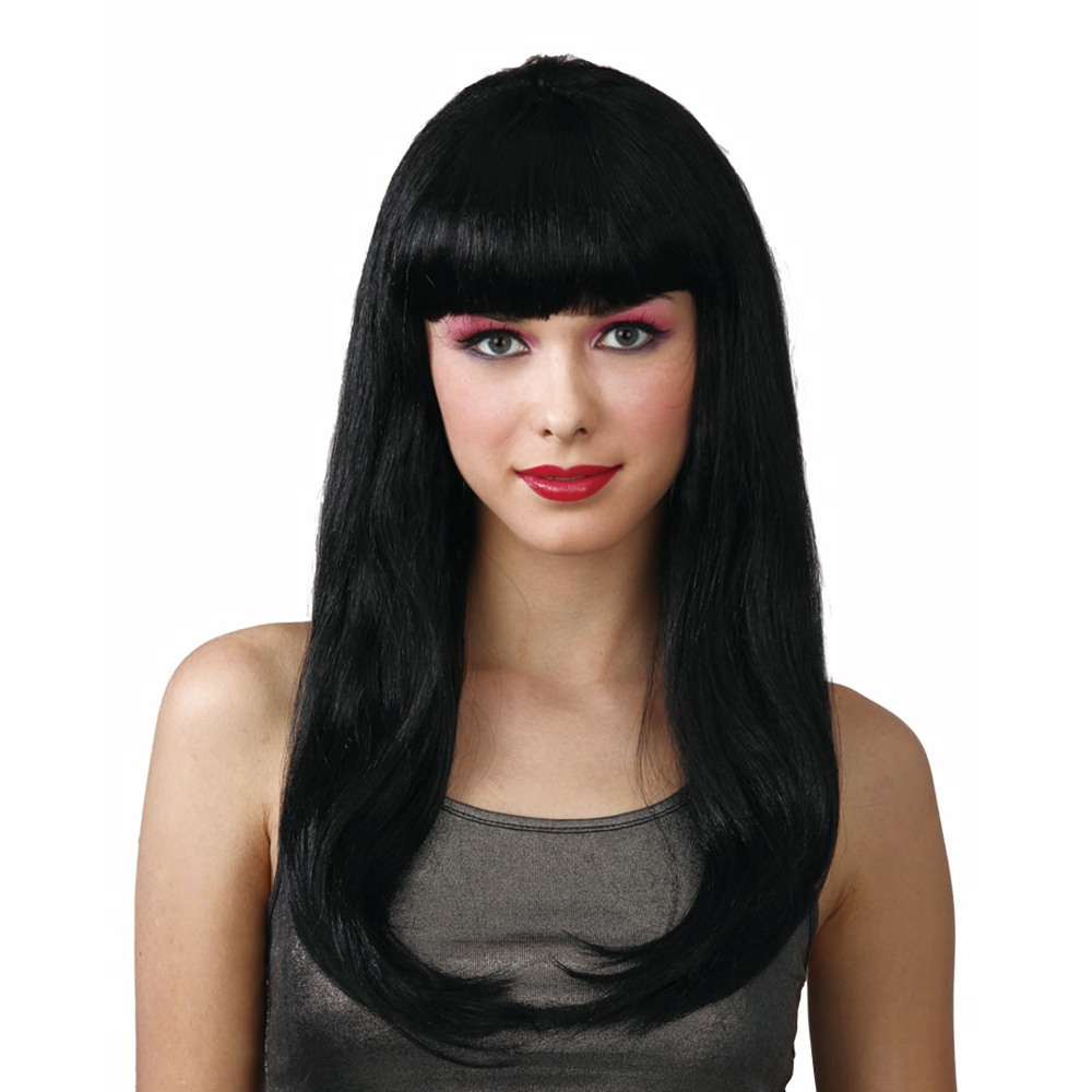 New Fantasy Black Long Black Fancy Dress Party Halloween Wig With Fringe