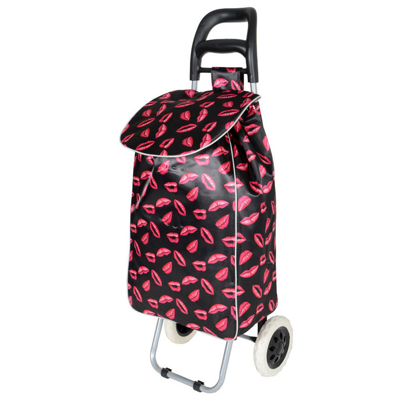 Black / Pink Lips Folding Wheeled Festival Shopping ...