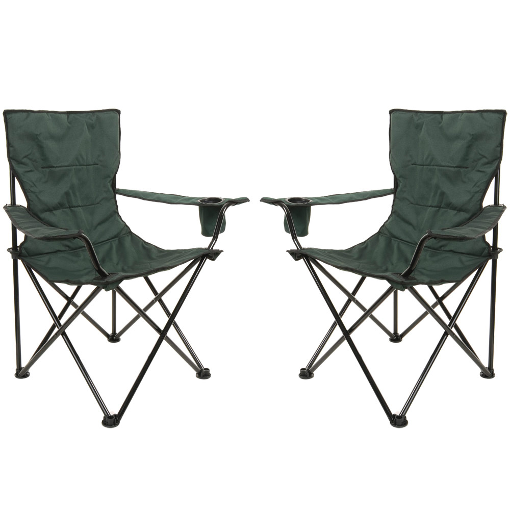2 x Azuma Deluxe Padded Folding Camping Outdoor Festival Fishing Arm Chair Se