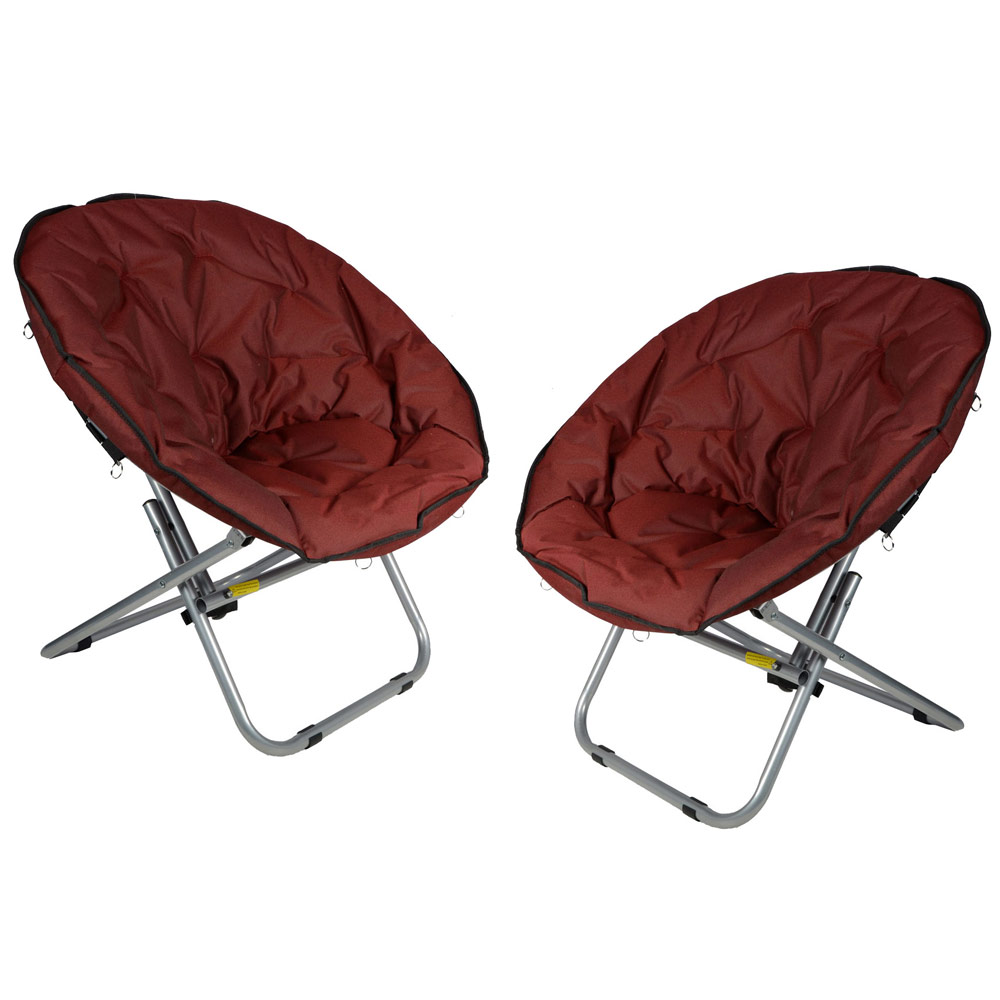 2 x Azuma Deluxe Quality Padded Folding Moon Chairs Red