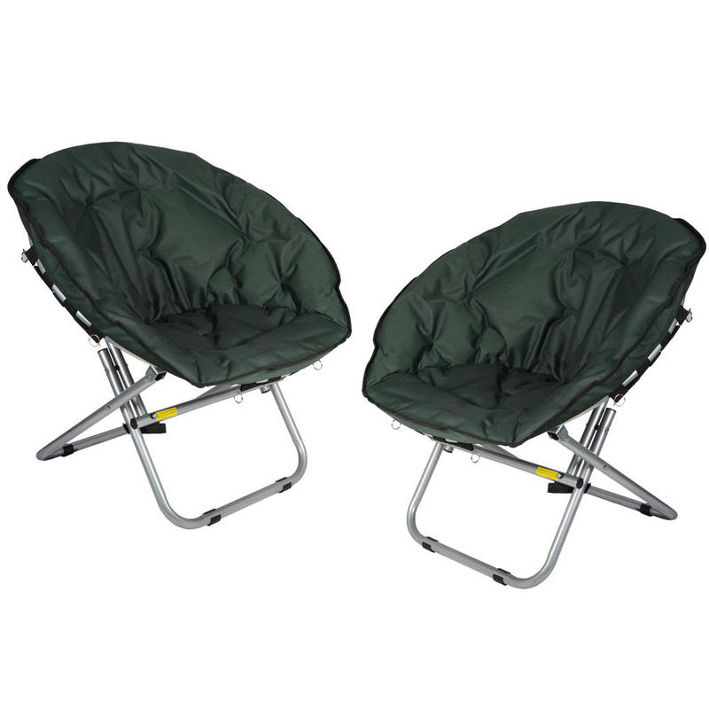 2 X Azuma Padded Folding Outdoor Camping Festival Garden Moon Chair Seat Green