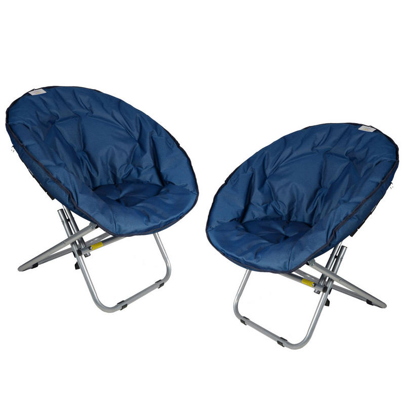 2 x Azuma Padded Folding Outdoor Camping Festival Garden Moon Chair Seat Blue