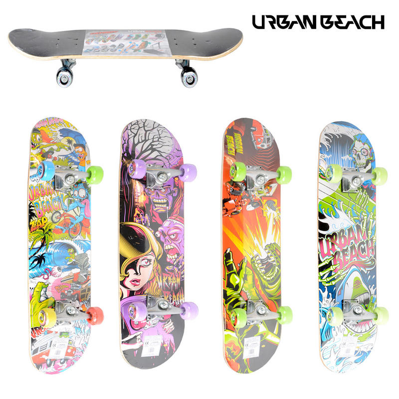 Kids Urban Beach Pro Double Kick Wheeled Skateboard 4 Designs New Preview