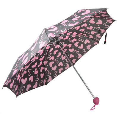 Drizzles Ladies Super Mini Brolly Umbrella Black With Pink Hearts
