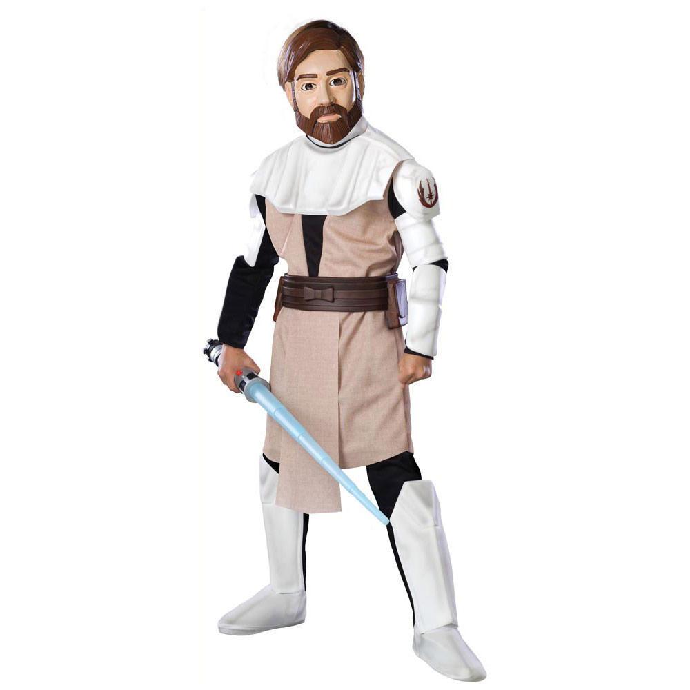 star wars clone wars deluxe obi wan kenobi boys fancy dress costume large ages 8 10 with lightsaber. Black Bedroom Furniture Sets. Home Design Ideas
