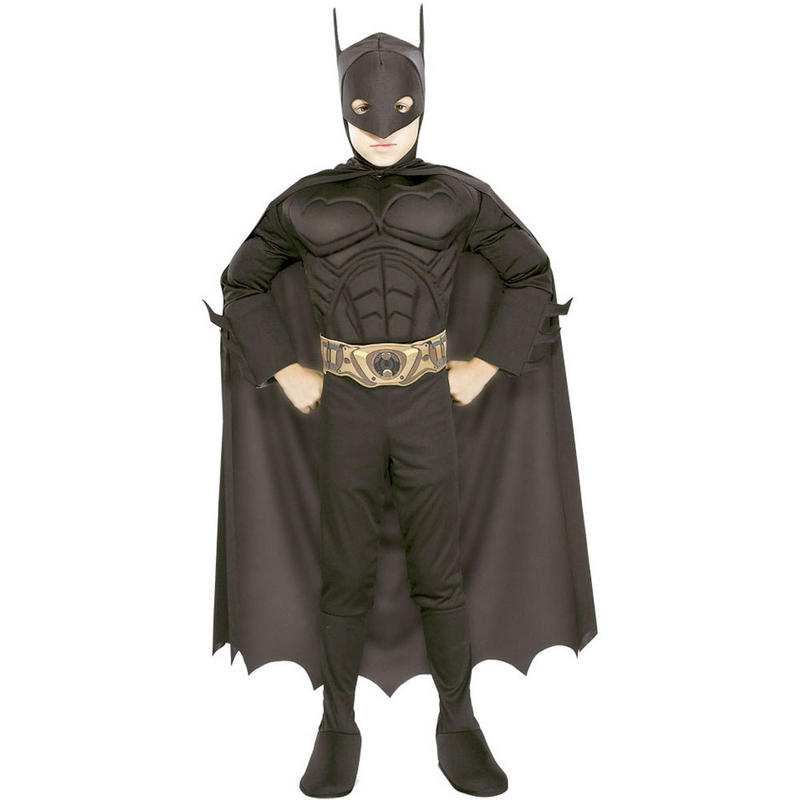 Boys Batman Begins Muscle Chest Super Hero Fancy Dress Costume Age 8-10