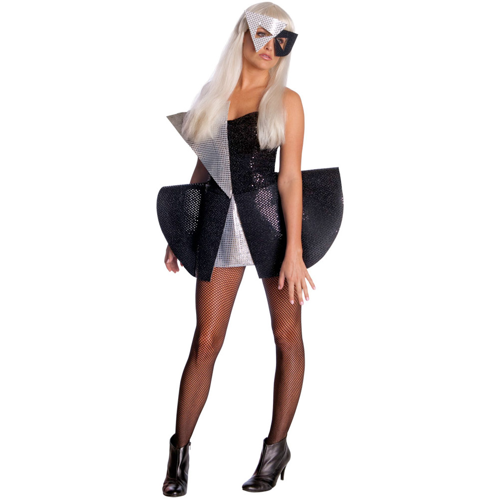 Ladies Lady Gaga Black Sequin Fancy Dress Mask Costume