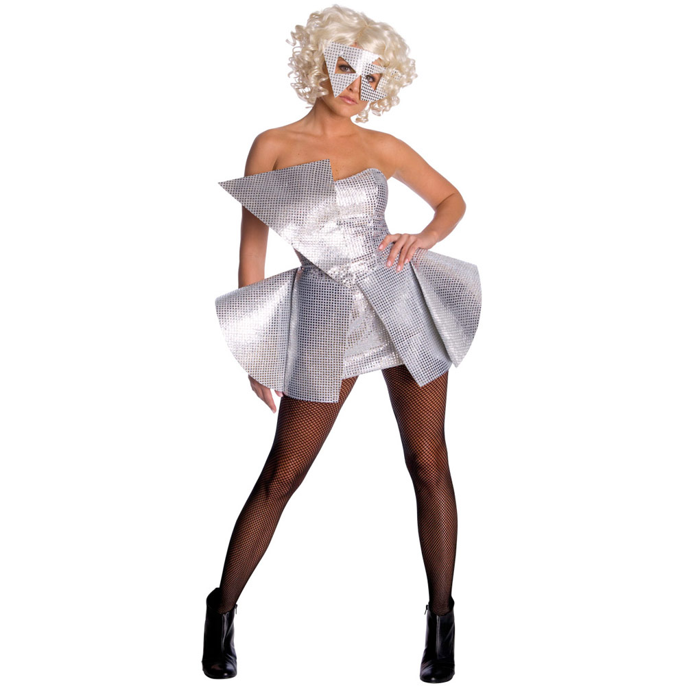 Ladies-Lady-Gaga-Silver-Sequin-Halloween-Fancy-Dress-Party-Costume-X-Small-New