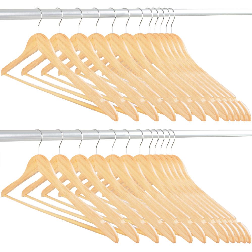 Wooden Hangers 24 Pack Natural Colour Swivel Hook Head Adult Size Coat Hangers