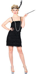 Charleston 1920s Style Flapper Ladies Fancy Dress Party Costume - Black