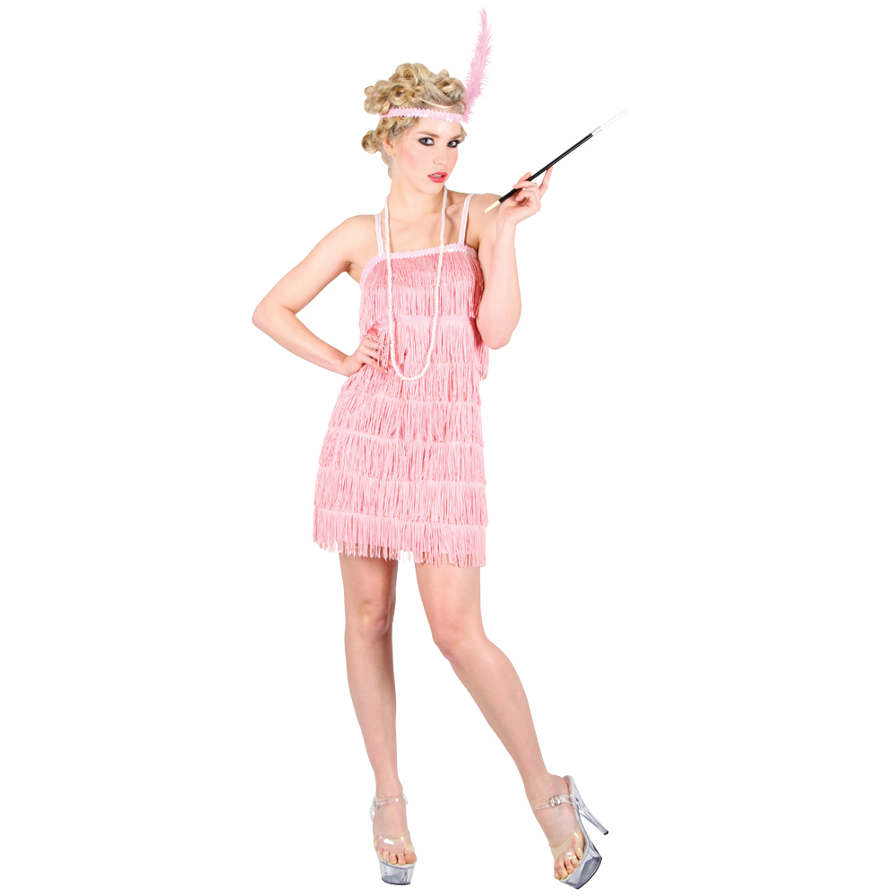 1920s Charleston Flapper Girl Pink Fancy Dress Costume