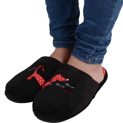 Womens Black Slip Resistant Shoes on Boxed Novelty Dog Design Black