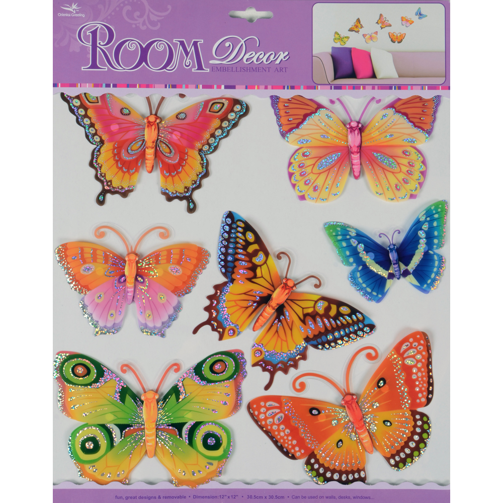 2 set peach butterfly room decor removable wall sticker ebay for Room decor embellishment art 3d
