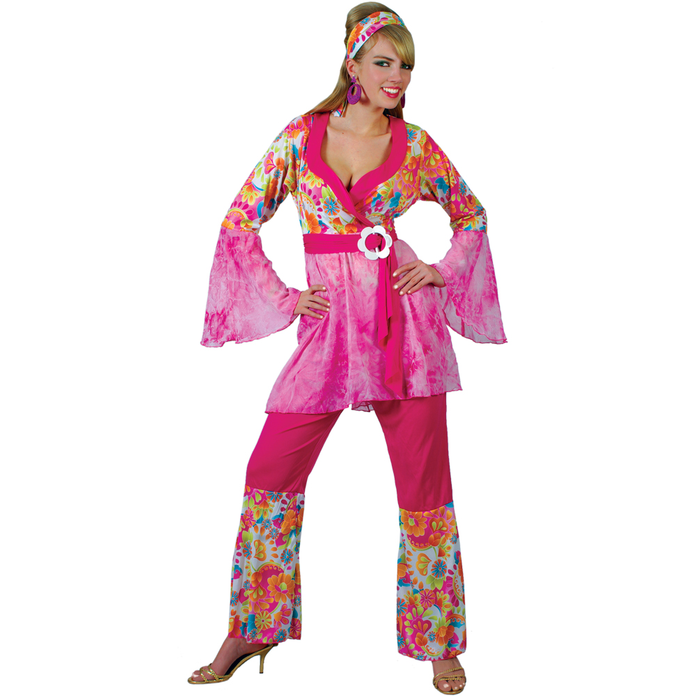 Ladies Groovy Hippie Chick 1960s Themed Pink Flares Fancy Dress ...