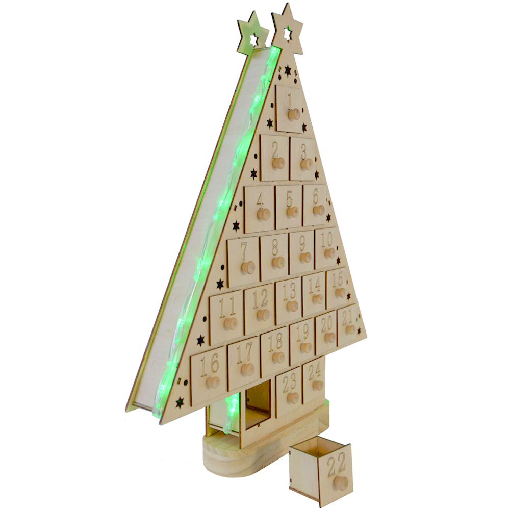 Battery Green Led Light Up Wooden Advent Calendar Tree Ebay