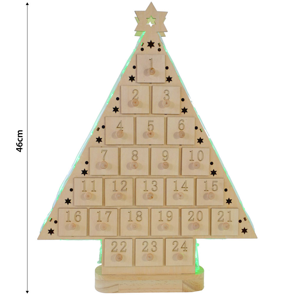 battery operated light up wooden led christmas tree advent calendar
