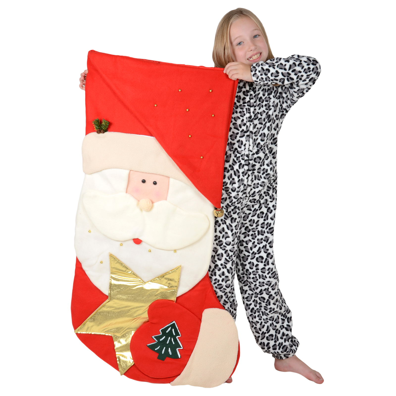 Giant 120cm Red Santa Childrens Christmas Fabric Stocking