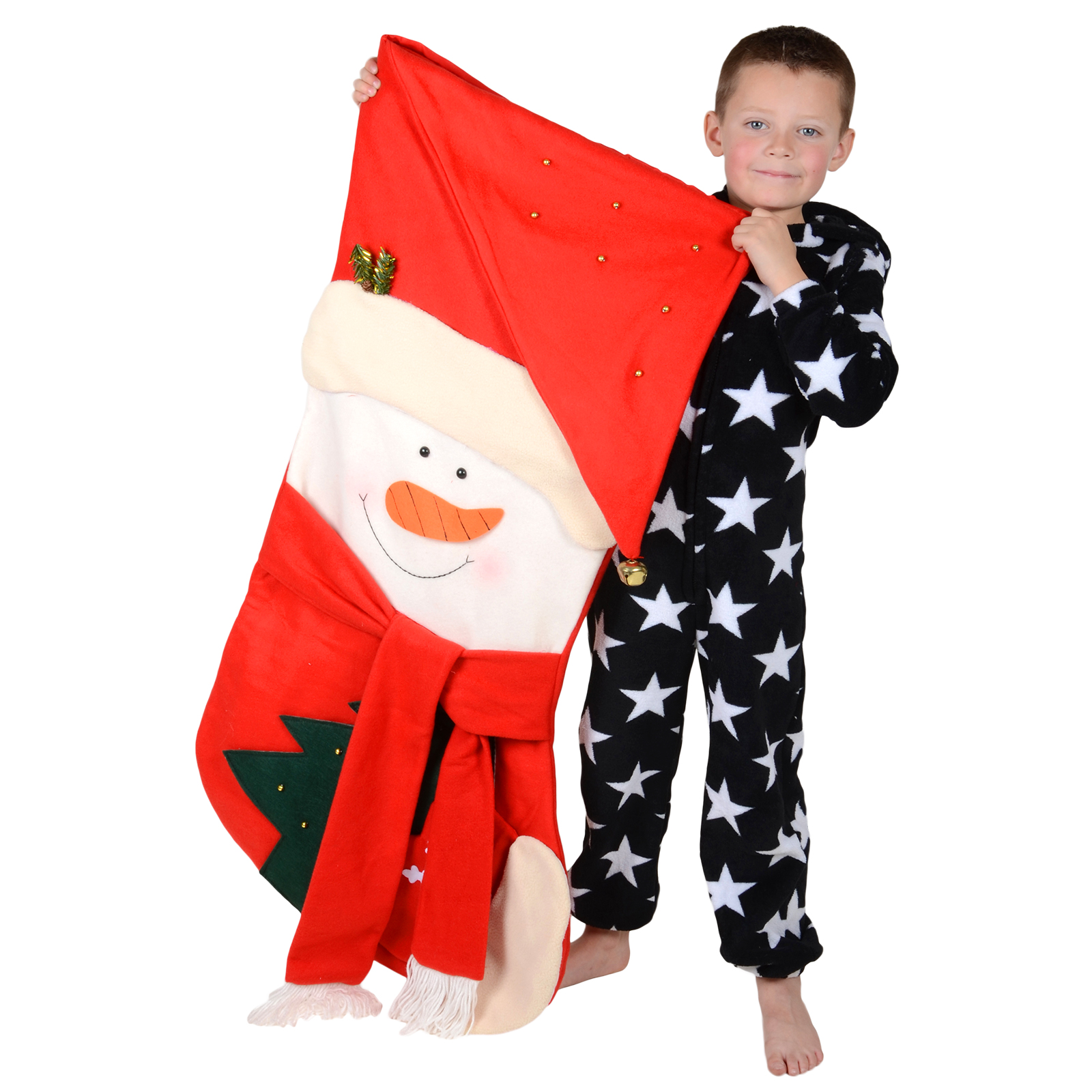 giant 120cm red snowman childrens christmas fabric stocking