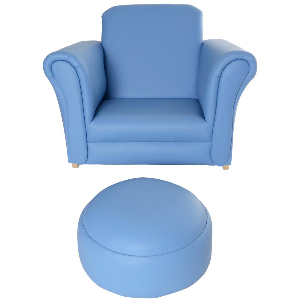Baby Blue Sofa : ... Look Armchair Sofa Chair Seat & Footstool Furniture - Baby Blue  eBay