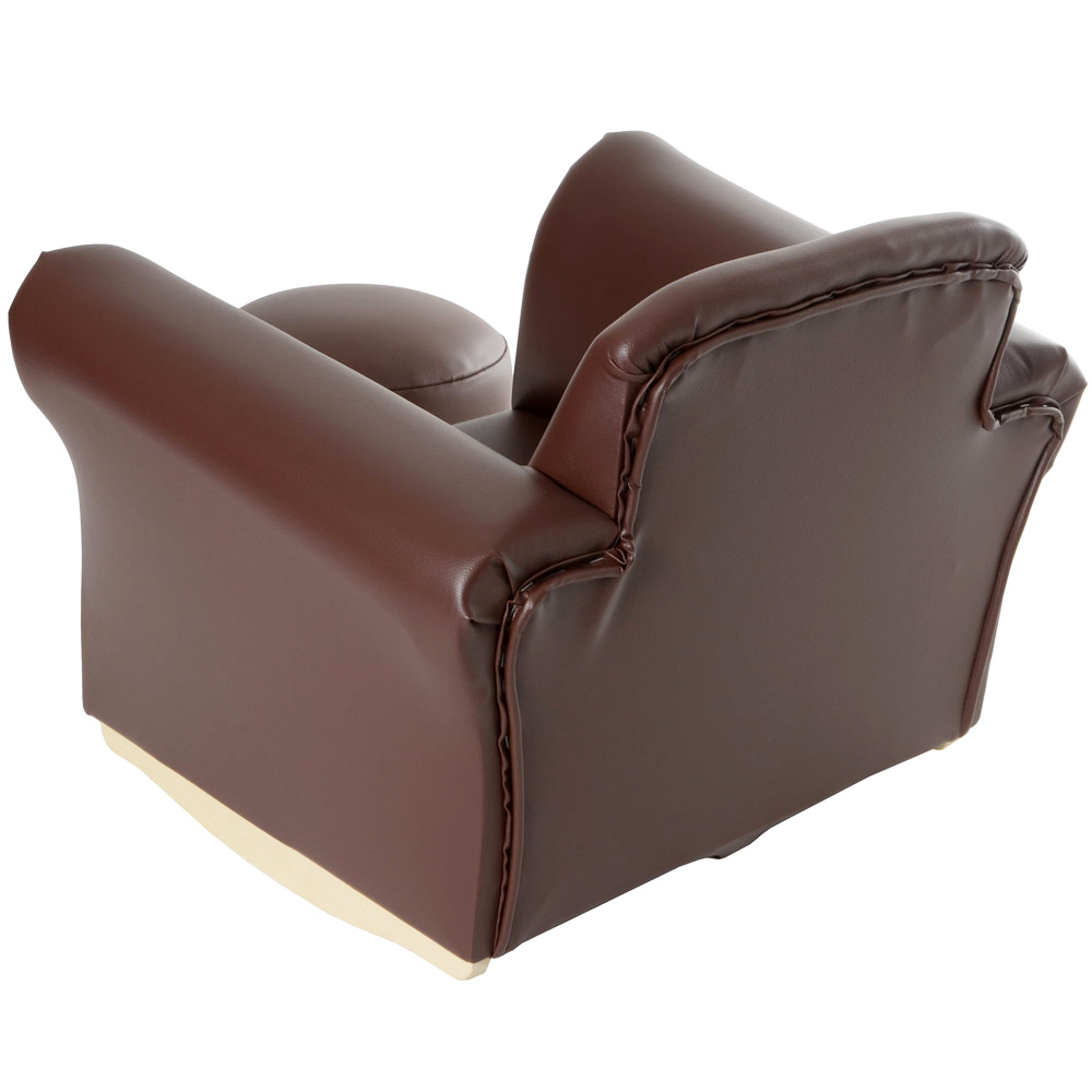 Kids pu leather look armchair sofa chair seat footstool for Kids chair leather
