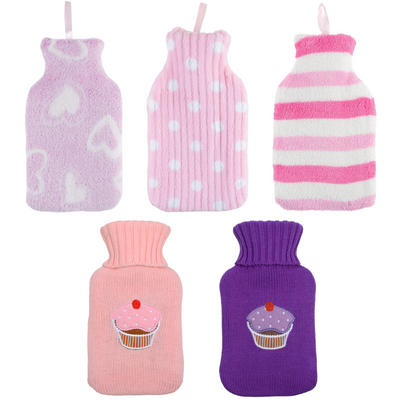 Mini Hot Water Bottle With Removable Soft Fabric Cover