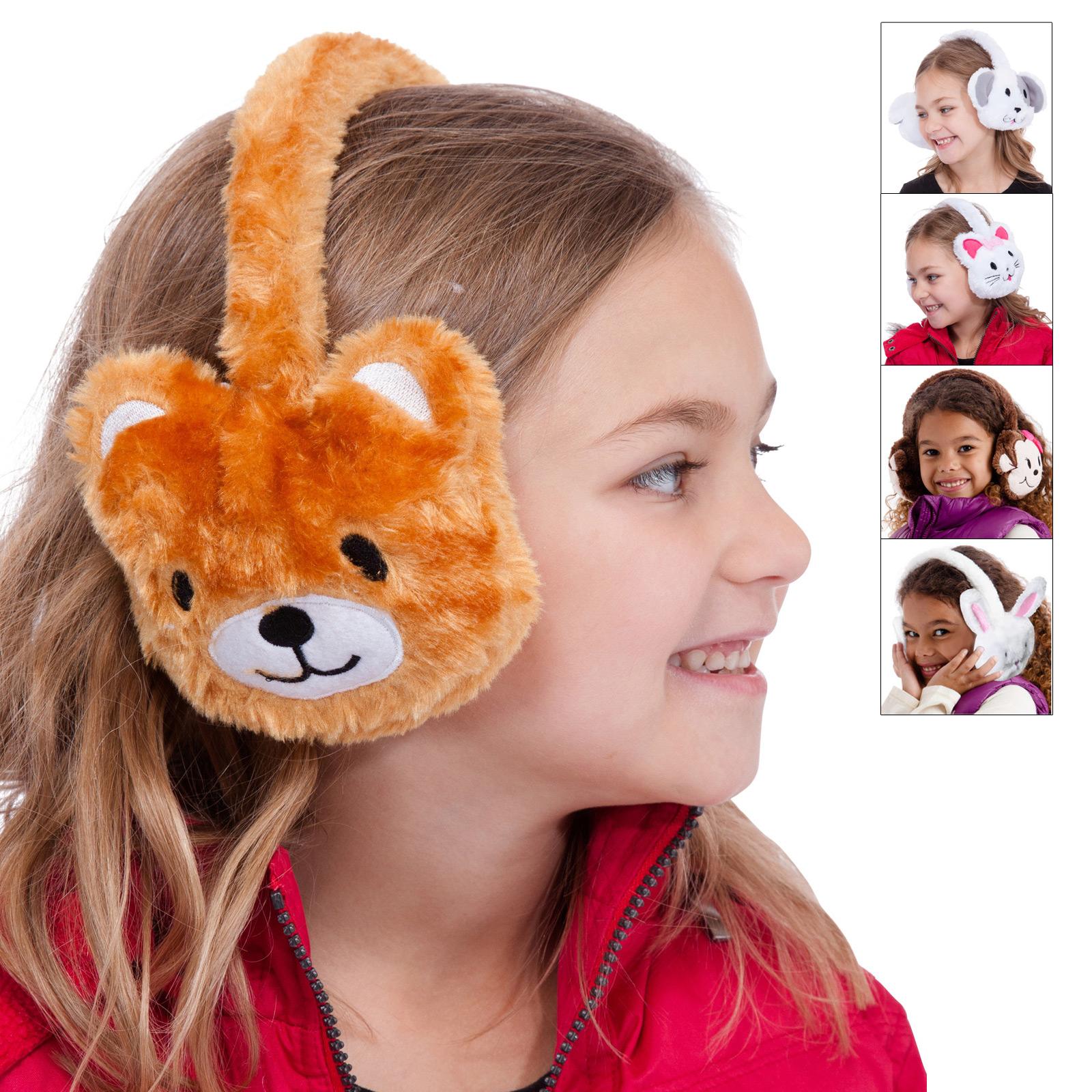Children s faux fur animal design ear muffs rabbit pig bear cat furry