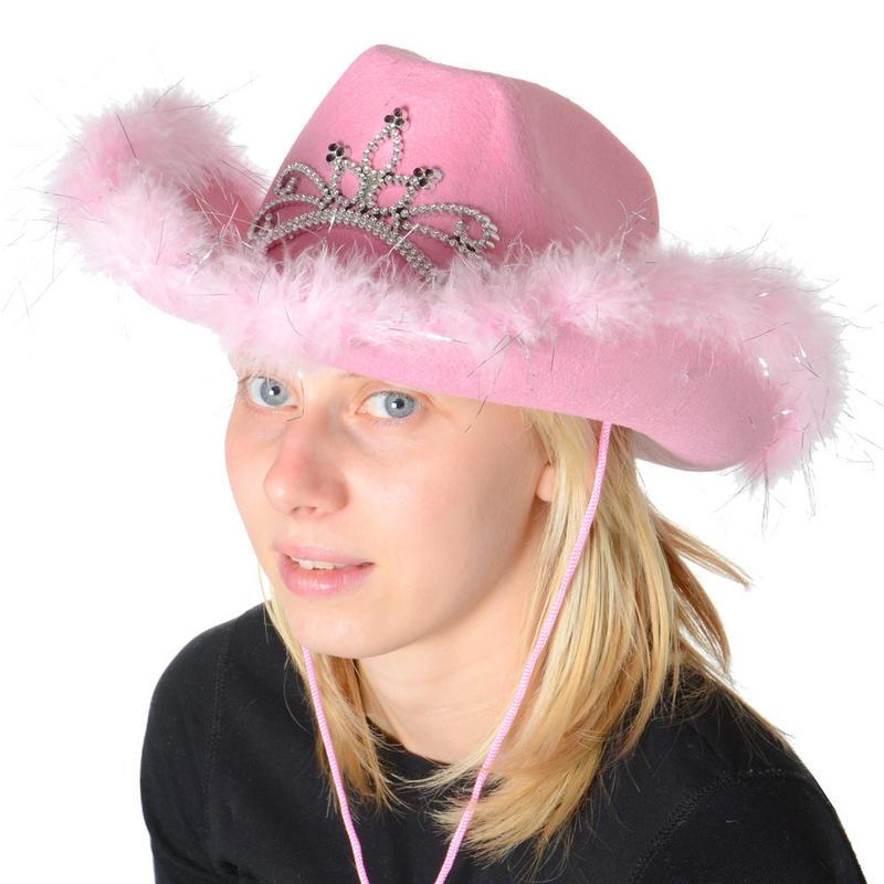 6 x pink light up cowboy hat with tiara