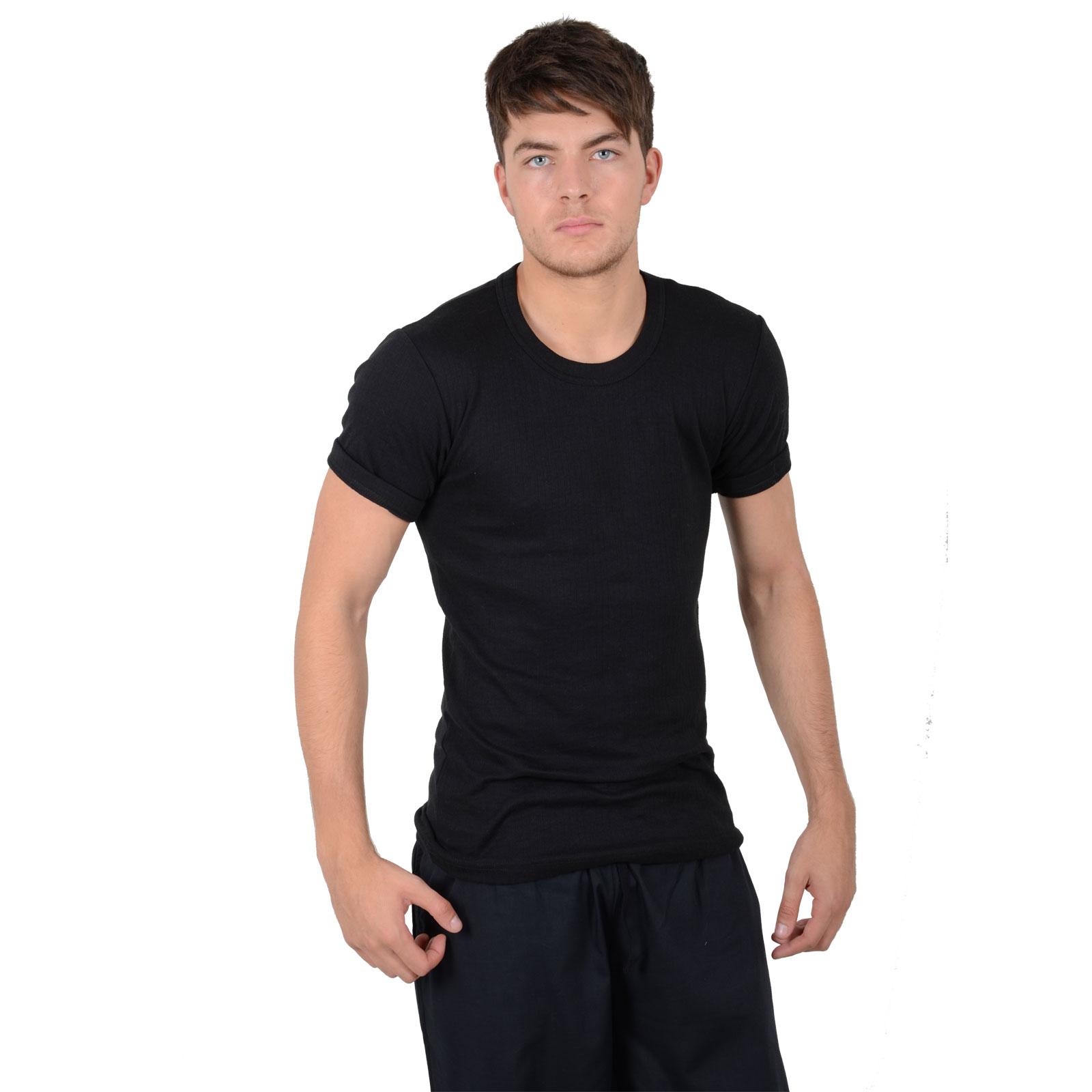 Men 39 s black winter thermal underwear crew neck short for Mens black thermal t shirts