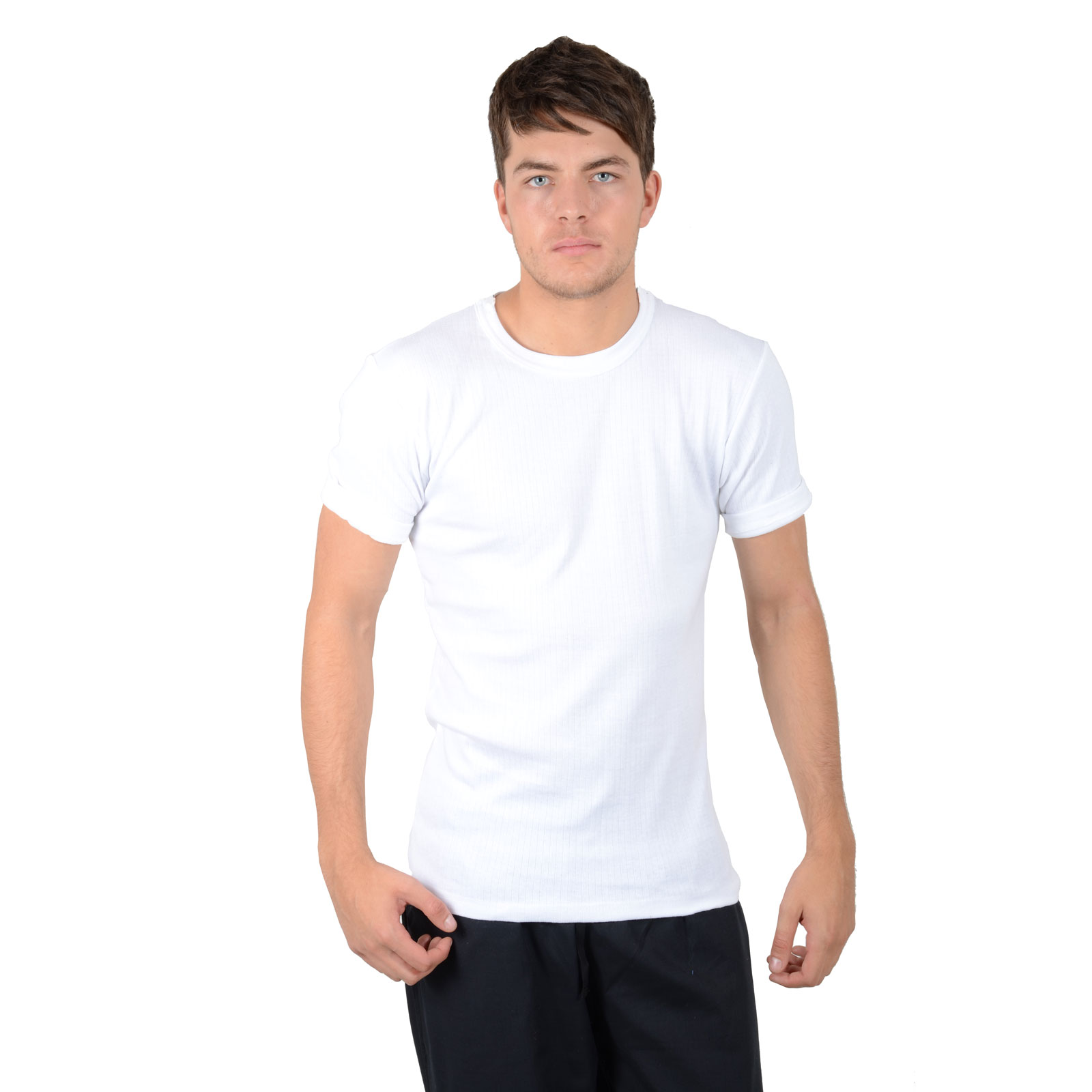 Men 39 s white winter thermal underwear crew neck short for White thermal t shirt
