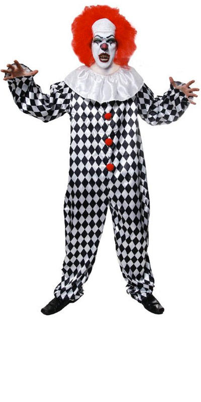 Adult Scary Clown Costume With Wig Fancy Dress Costume