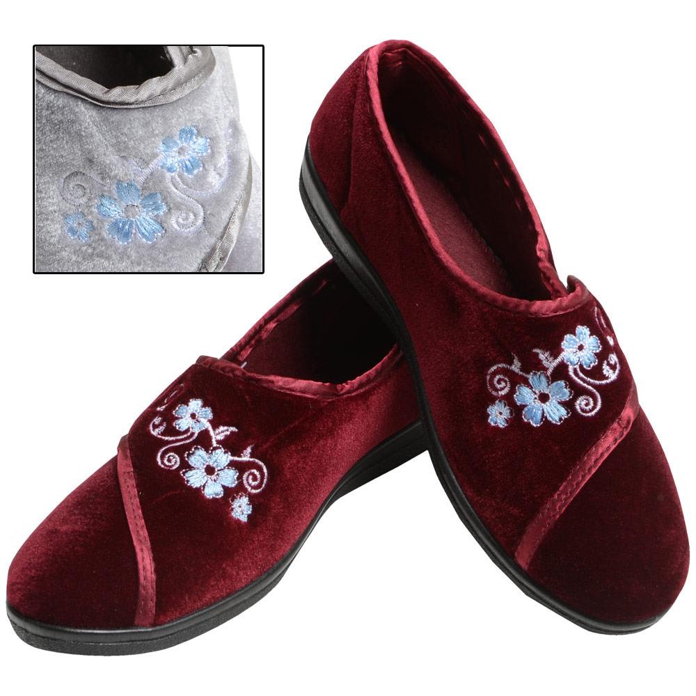 Ladies-Velour-Velcro-Fastening-Full-Slippers-Embroidered-Flowers-Satin-Trim