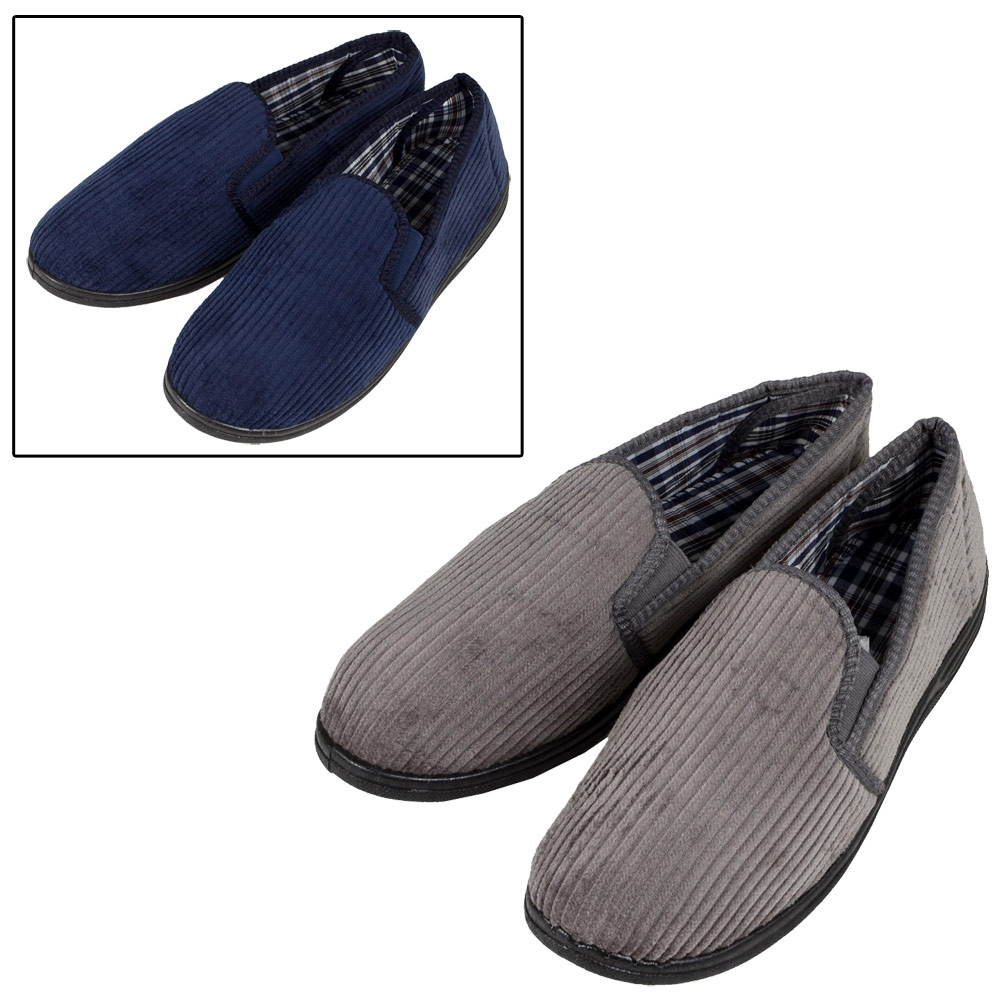 Mens-Classic-Style-Soft-Cord-Slippers-With-Elasticated-Gussets-Checked-Lining