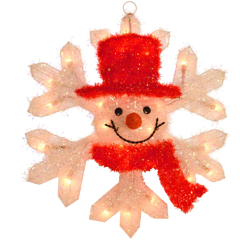 50cm Wall Hanging Tinsel Snowman Snowflake Light Up Festive Christmas Decoration