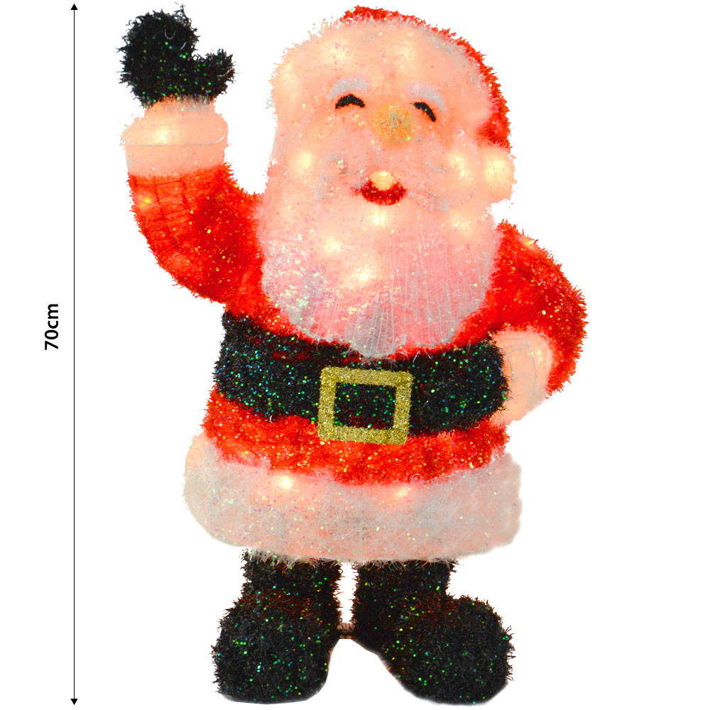 Light Up Parcels Christmas Decorations Argos: 70cm Light Up Tinsel Standing Waving Hand Santa Festive