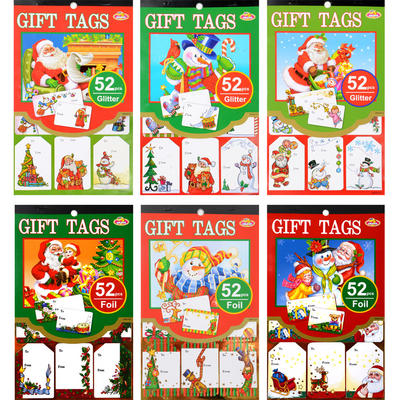Cute Traditional Cartoon 52 Piece Christmas Adhesive Glitter Foil Gift Tag Book
