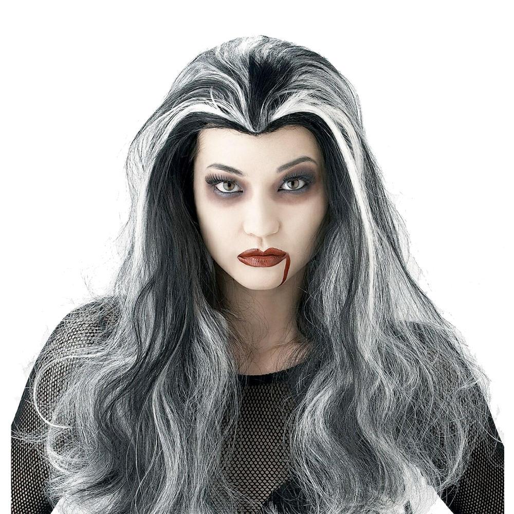 23 5 Quot Ladies Pmg Black Amp White Wavy Vampire Fancy Dress