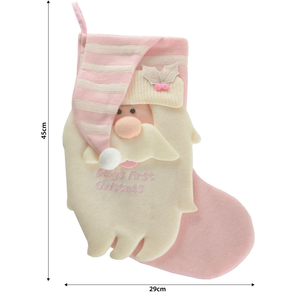 New gorgeous baby girl s my first christmas stocking in pink amp white