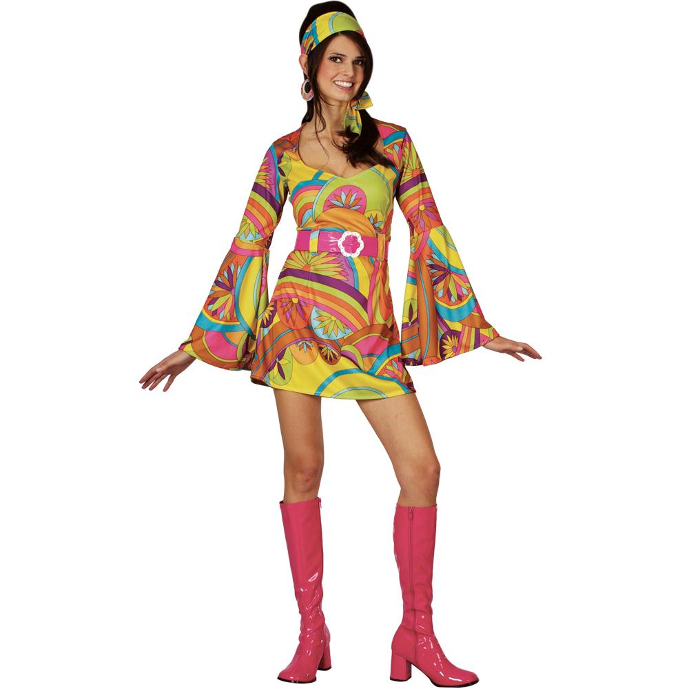1960s Style Psychedelic Reto Girl Ladies Fancy Dress 60s Dancer